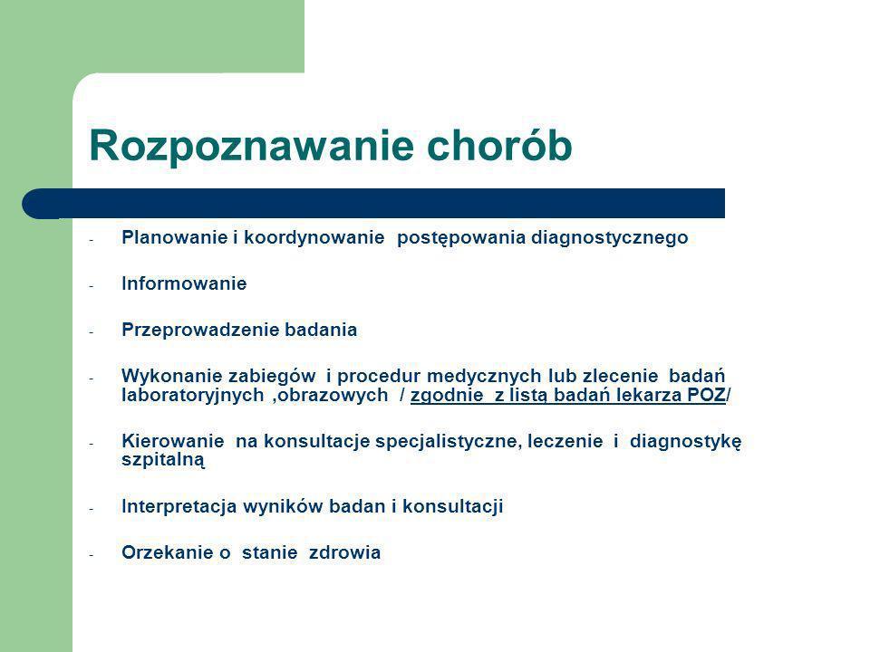 Rozpoznawanie chorób - Planowanie i koordynowanie postępowania diagnostycznego - Informowanie - Przeprowadzenie badania - Wykonanie zabiegów i procedu