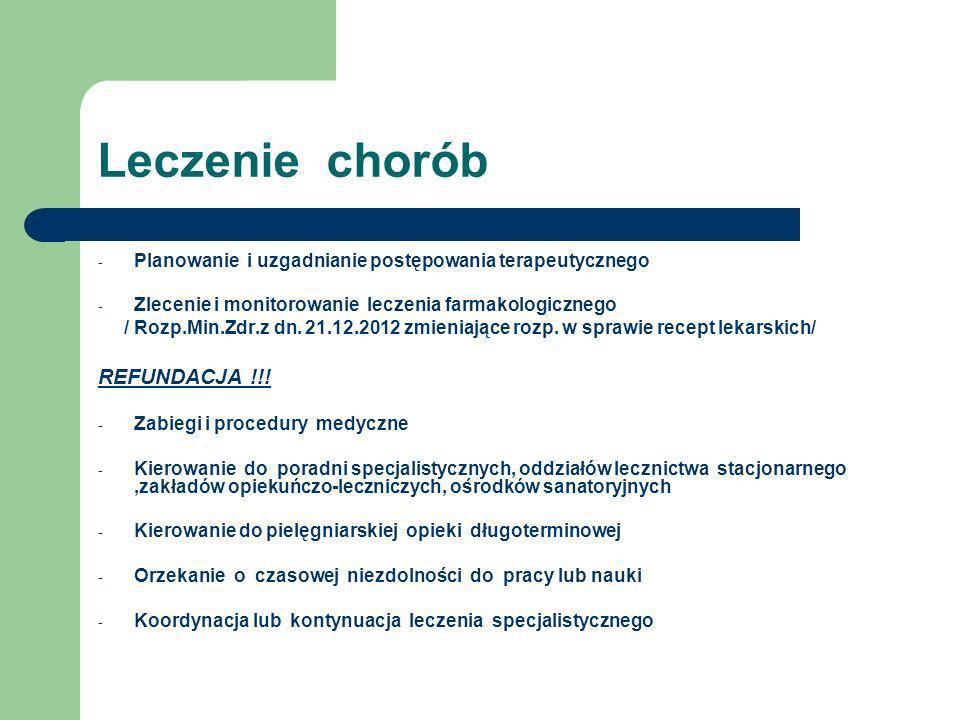 Leczenie chorób - Planowanie i uzgadnianie postępowania terapeutycznego - Zlecenie i monitorowanie leczenia farmakologicznego / Rozp.Min.Zdr.z dn. 21.