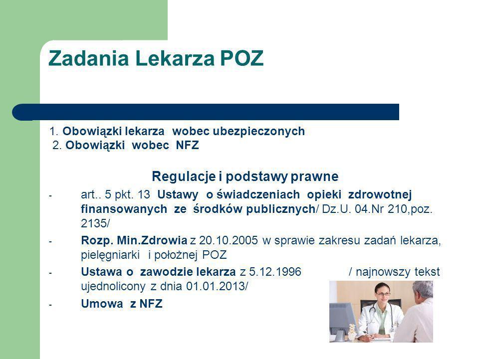 Zadania Lekarza POZ 1. Obowiązki lekarza wobec ubezpieczonych 2. Obowiązki wobec NFZ Regulacje i podstawy prawne - art.. 5 pkt. 13 Ustawy o świadczeni