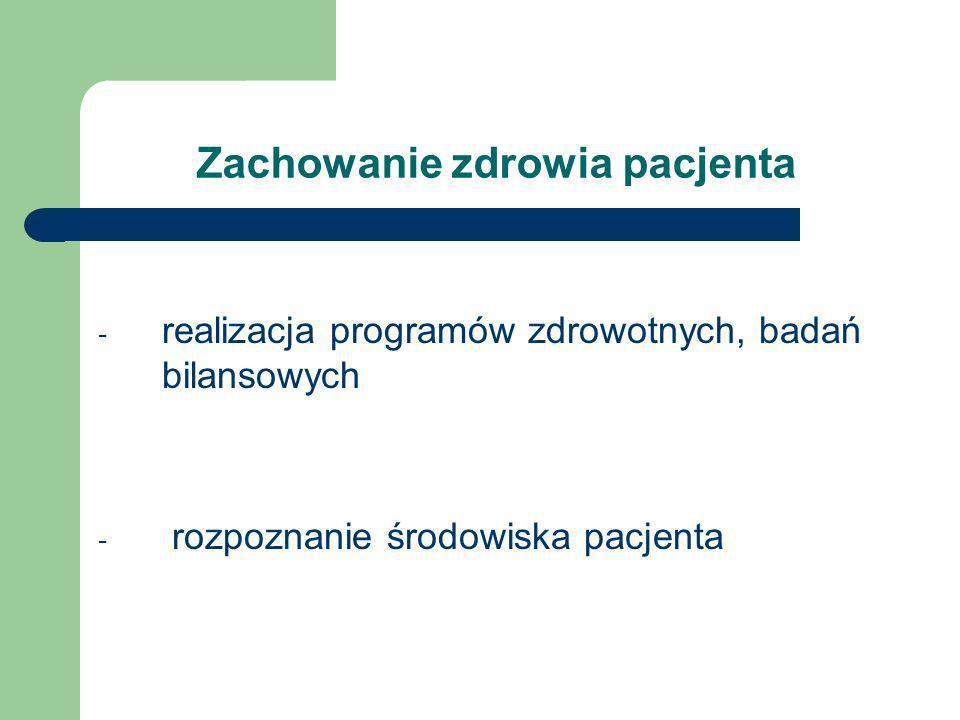 Zachowanie zdrowia pacjenta - realizacja programów zdrowotnych, badań bilansowych - rozpoznanie środowiska pacjenta