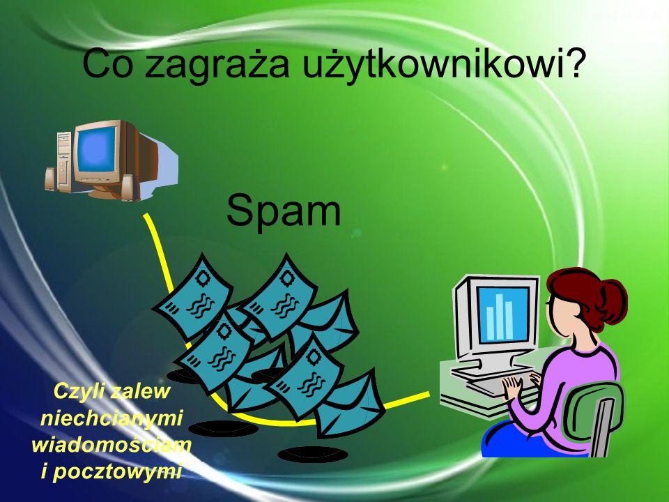 Co zagraża użytkownikowi? Spam Czyli zalew niechcianymi wiadomościam i pocztowymi