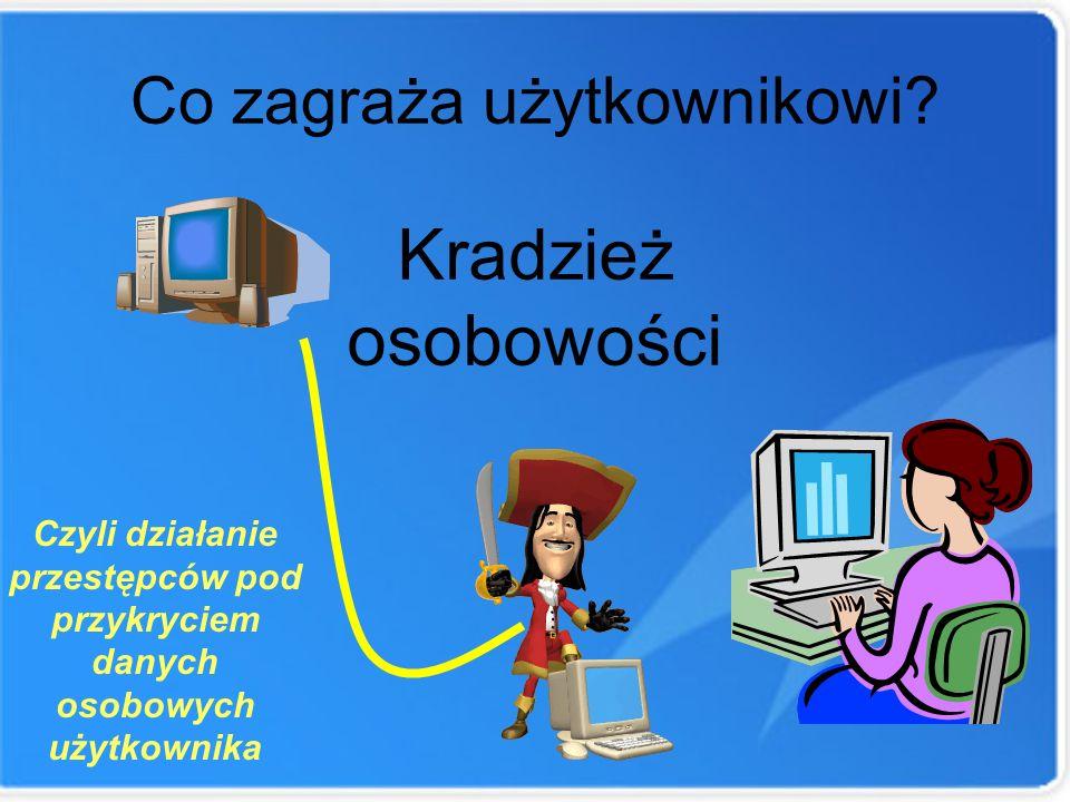 Co zagraża użytkownikowi? Kradzież osobowości Czyli działanie przestępców pod przykryciem danych osobowych użytkownika
