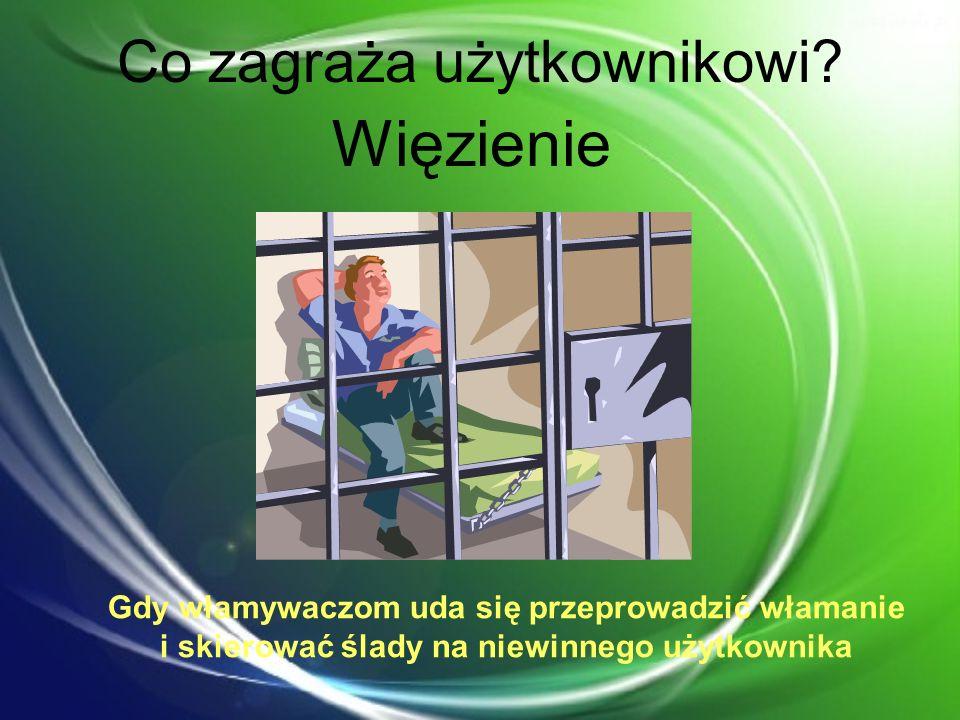 Co zagraża użytkownikowi? Więzienie Gdy włamywaczom uda się przeprowadzić włamanie i skierować ślady na niewinnego użytkownika