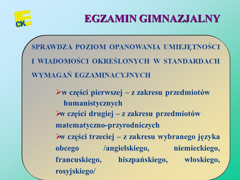 29 EGZAMIN GIMNAZJALNY PRZEPROWADZANY W KWIETNIU OBEJMUJE TRZY CZĘŚCI DWIE TRWAJĄ PO 120 MINUT, część trzecia – język obcy trwa 90 min, do 2011 r. jej