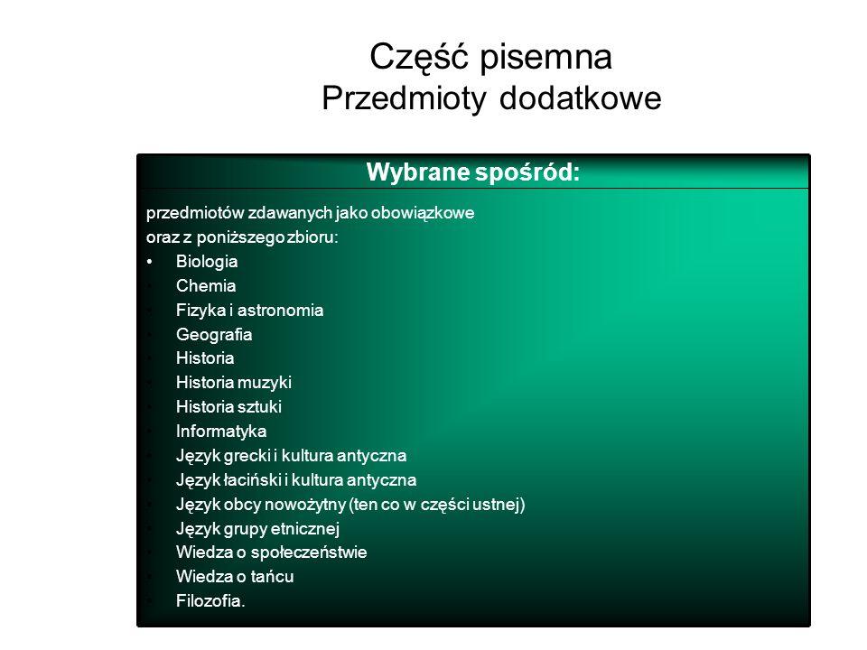 43 Część pisemna Przedmioty obowiązkowe Język polski Język obcy nowożytny (ten sam co w części ustnej) Od 2010 r. – matematyka Język mniejszości narod