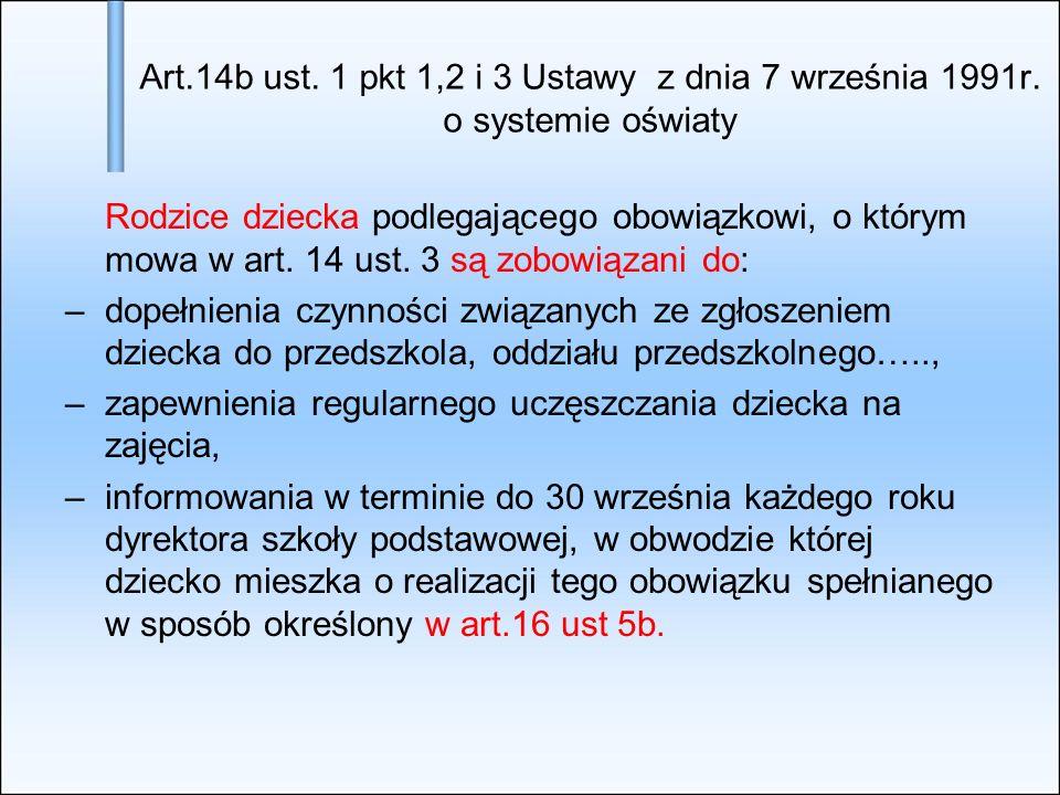 Art.14b ust. 1 pkt 1,2 i 3 Ustawy z dnia 7 września 1991r. o systemie oświaty Rodzice dziecka podlegającego obowiązkowi, o którym mowa w art. 14 ust.