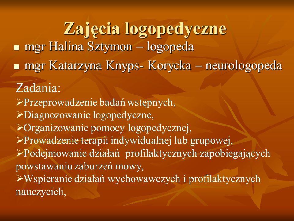 Zajęcia logopedyczne mgr Halina Sztymon – logopeda mgr Halina Sztymon – logopeda mgr Katarzyna Knyps- Korycka – neurologopeda mgr Katarzyna Knyps- Kor