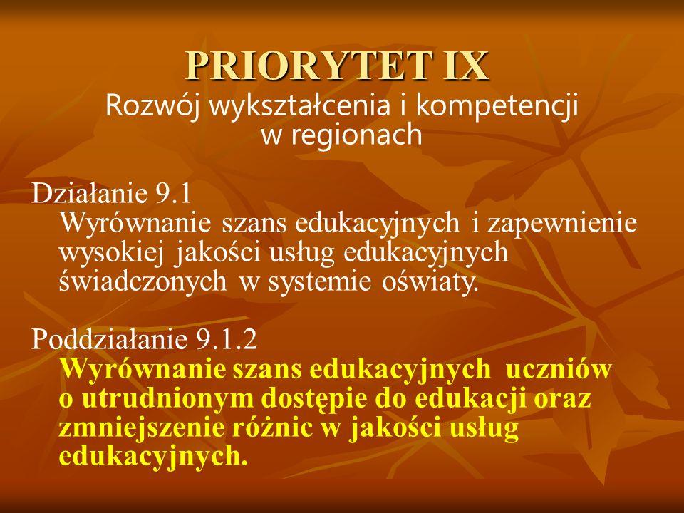PRIORYTET IX Rozwój wykształcenia i kompetencji w regionach Działanie 9.1 Wyrównanie szans edukacyjnych i zapewnienie wysokiej jakości usług edukacyjn