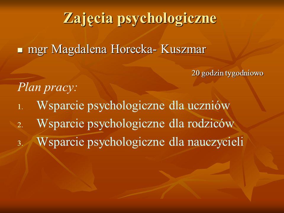 Zajęcia psychologiczne mgr Magdalena Horecka- Kuszmar mgr Magdalena Horecka- Kuszmar Plan pracy: 1. Wsparcie psychologiczne dla uczniów 2. Wsparcie ps