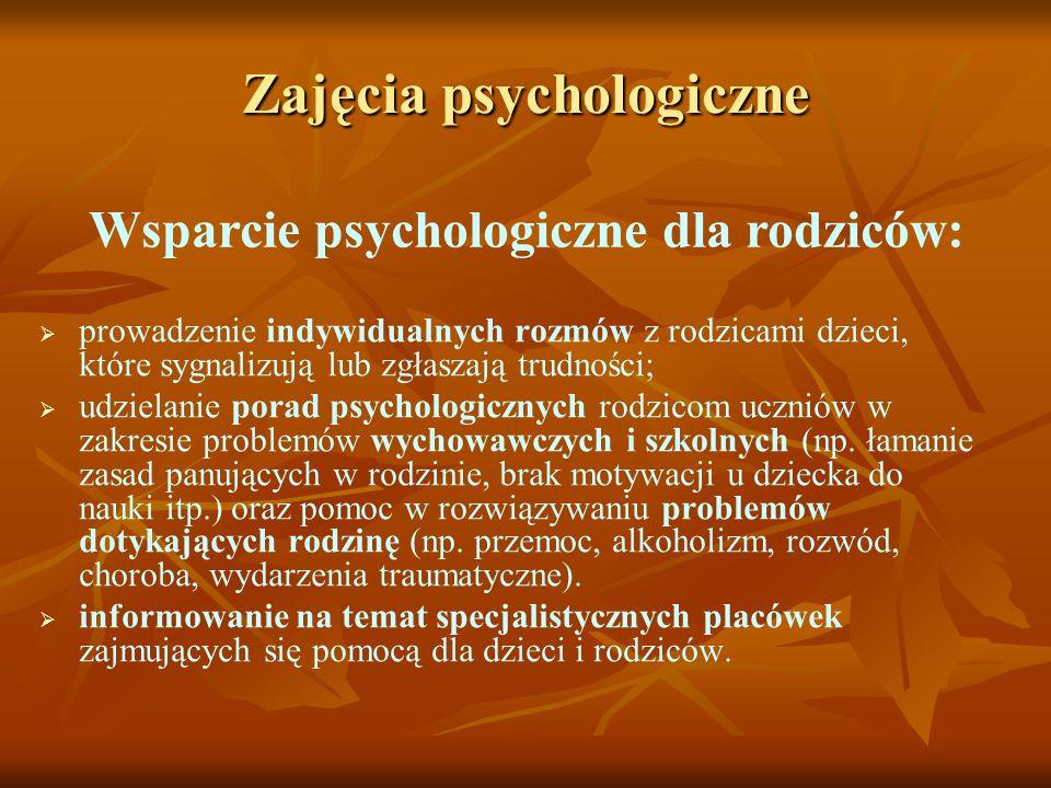 Zajęcia psychologiczne Wsparcie psychologiczne dla rodziców: prowadzenie indywidualnych rozmów z rodzicami dzieci, które sygnalizują lub zgłaszają tru