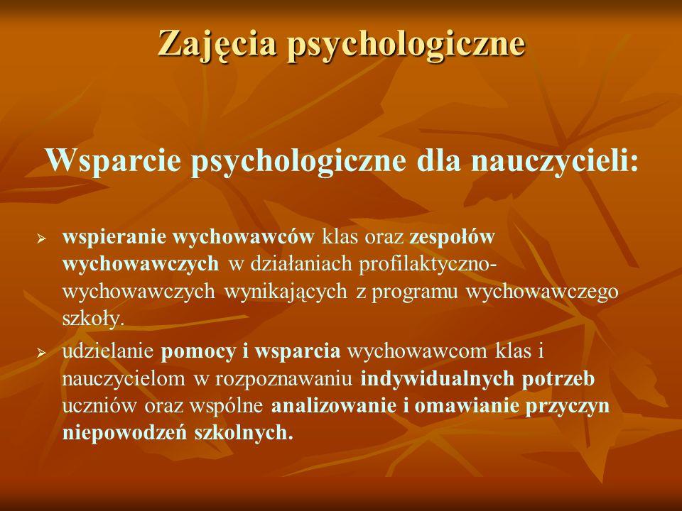 Zajęcia psychologiczne Wsparcie psychologiczne dla nauczycieli: wspieranie wychowawców klas oraz zespołów wychowawczych w działaniach profilaktyczno-