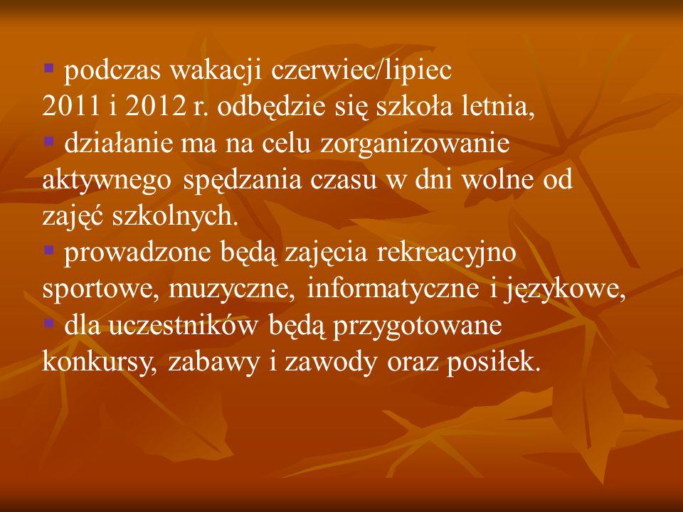 podczas wakacji czerwiec/lipiec 2011 i 2012 r. odbędzie się szkoła letnia, działanie ma na celu zorganizowanie aktywnego spędzania czasu w dni wolne o