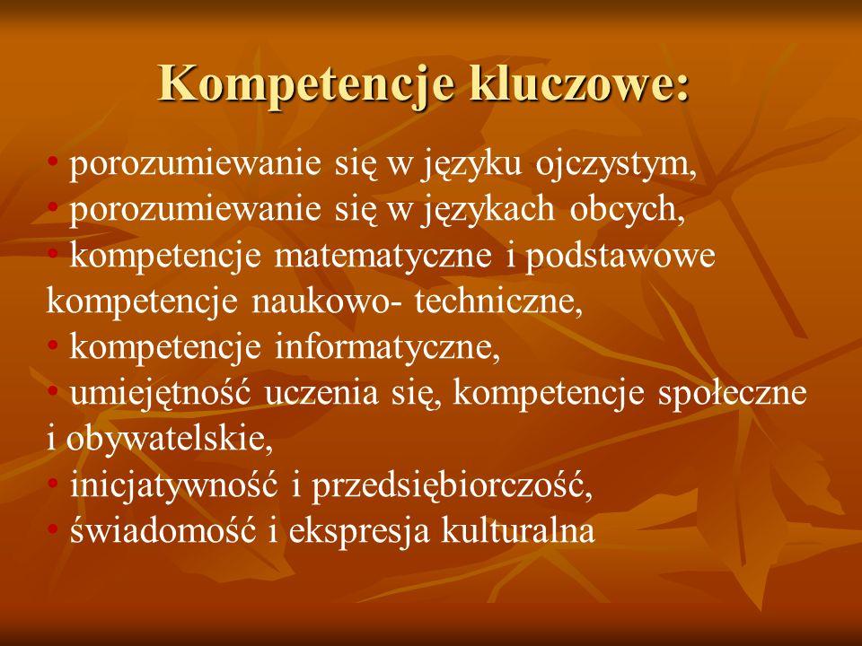 Kompetencje kluczowe: porozumiewanie się w języku ojczystym, porozumiewanie się w językach obcych, kompetencje matematyczne i podstawowe kompetencje n