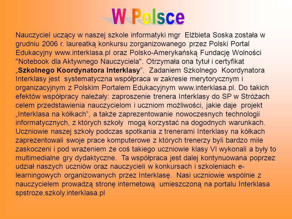 Nauczyciel uczący w naszej szkole informatyki mgr Elżbieta Soska została w grudniu 2006 r.