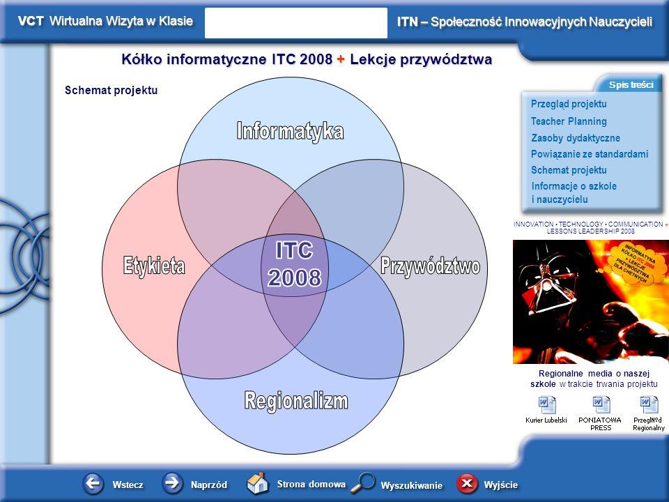 Schemat projektu Kółko informatyczne ITC 2008 + Lekcje przywództwa WsteczWstecz NaprzódNaprzód Strona domowa WyjścieWyjście Przegląd projektu ITN – Społeczność Innowacyjnych Nauczycieli Teacher Planning Powiązanie ze standardami Zasoby dydaktyczne Informacje o szkole i nauczycielu Spis treści VCT Wirtualna Wizyta w Klasie WyszukiwanieWyszukiwanie INNOVATION TECHNOLOGY COMMUNICATION + LESSONS LEADERSHIP 2008 Ocenianie i Standardy Ocena i ewaluacja projektu była prowadzona podczas cotygodniowych zajęć kółka ITC 2008.