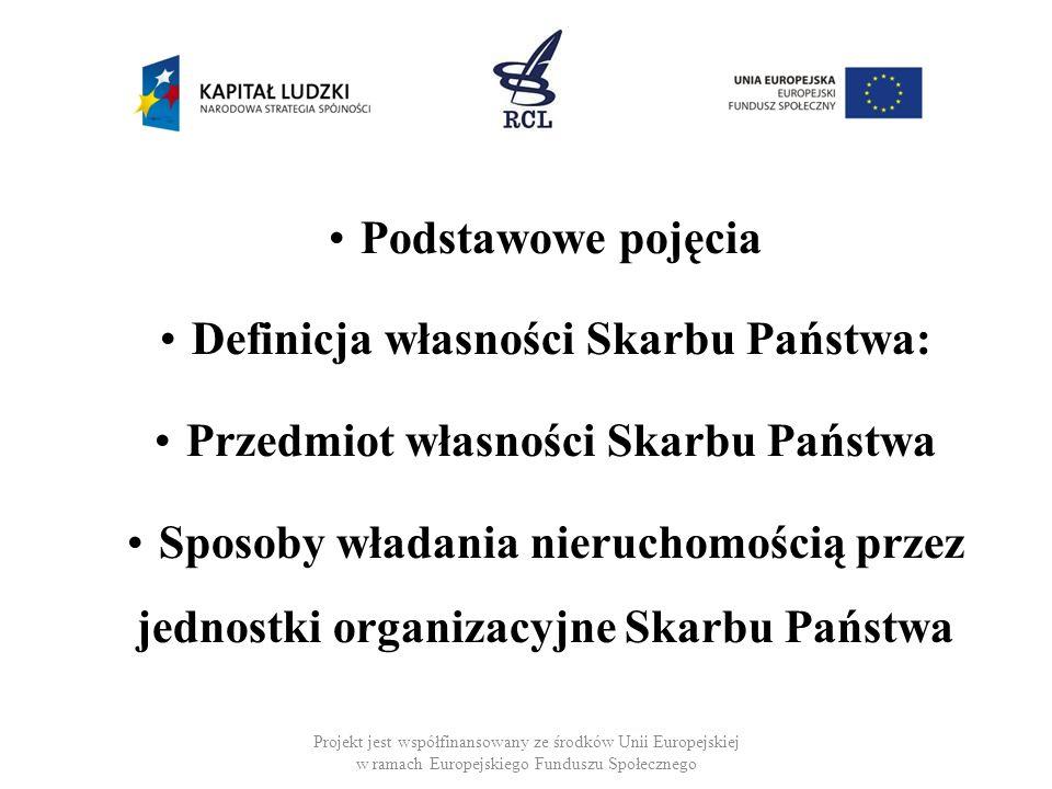 Podmiot własności Skarbu Państwa : Skarb Państwa jako sui generis osoba prawna Państwowe Osoby Prawne Projekt jest współfinansowany ze środków Unii Europejskiej w ramach Europejskiego Funduszu Społecznego