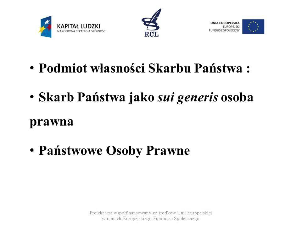 Podmiot własności Skarbu Państwa : Skarb Państwa jako sui generis osoba prawna Państwowe Osoby Prawne Projekt jest współfinansowany ze środków Unii Eu