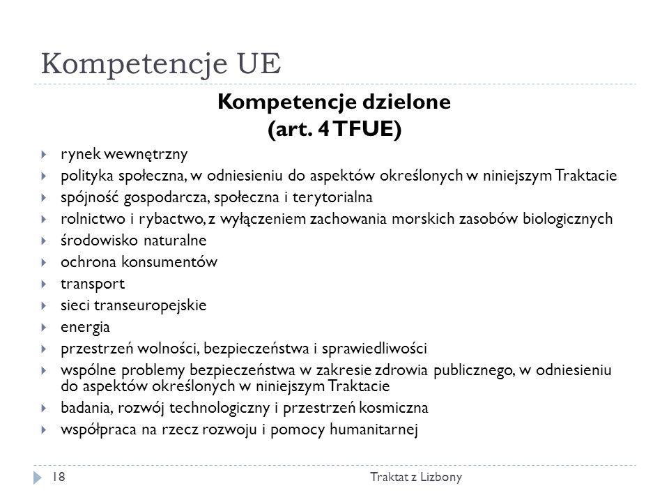 Kompetencje UE Traktat z Lizbony18 Kompetencje dzielone (art. 4 TFUE) rynek wewnętrzny polityka społeczna, w odniesieniu do aspektów określonych w nin