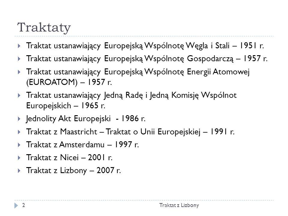 Traktaty Traktat z Lizbony2 Traktat ustanawiający Europejską Wspólnotę Węgla i Stali – 1951 r. Traktat ustanawiający Europejską Wspólnotę Gospodarczą