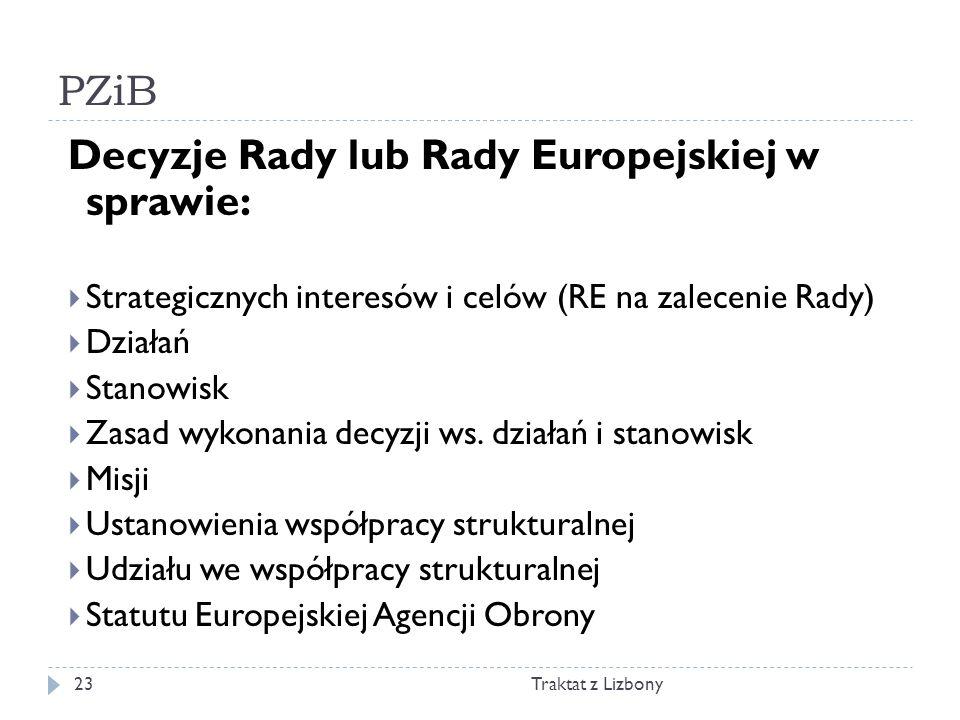PZiB Traktat z Lizbony23 Decyzje Rady lub Rady Europejskiej w sprawie: Strategicznych interesów i celów (RE na zalecenie Rady) Działań Stanowisk Zasad