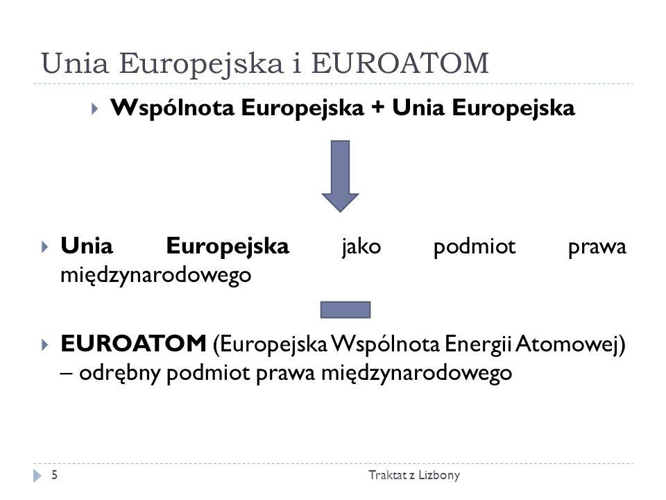 Unia Europejska i EUROATOM Traktat z Lizbony5 Wspólnota Europejska + Unia Europejska Unia Europejska jako podmiot prawa międzynarodowego EUROATOM (Eur
