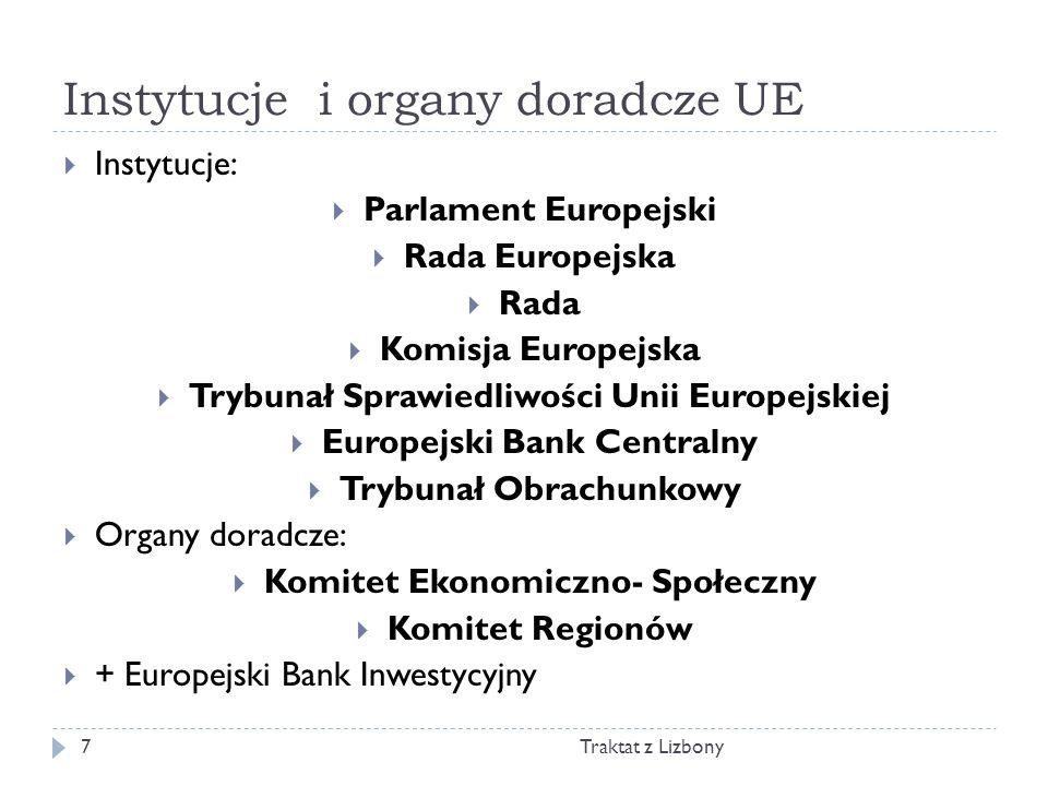 Instytucje i organy doradcze UE Traktat z Lizbony7 Instytucje: Parlament Europejski Rada Europejska Rada Komisja Europejska Trybunał Sprawiedliwości U