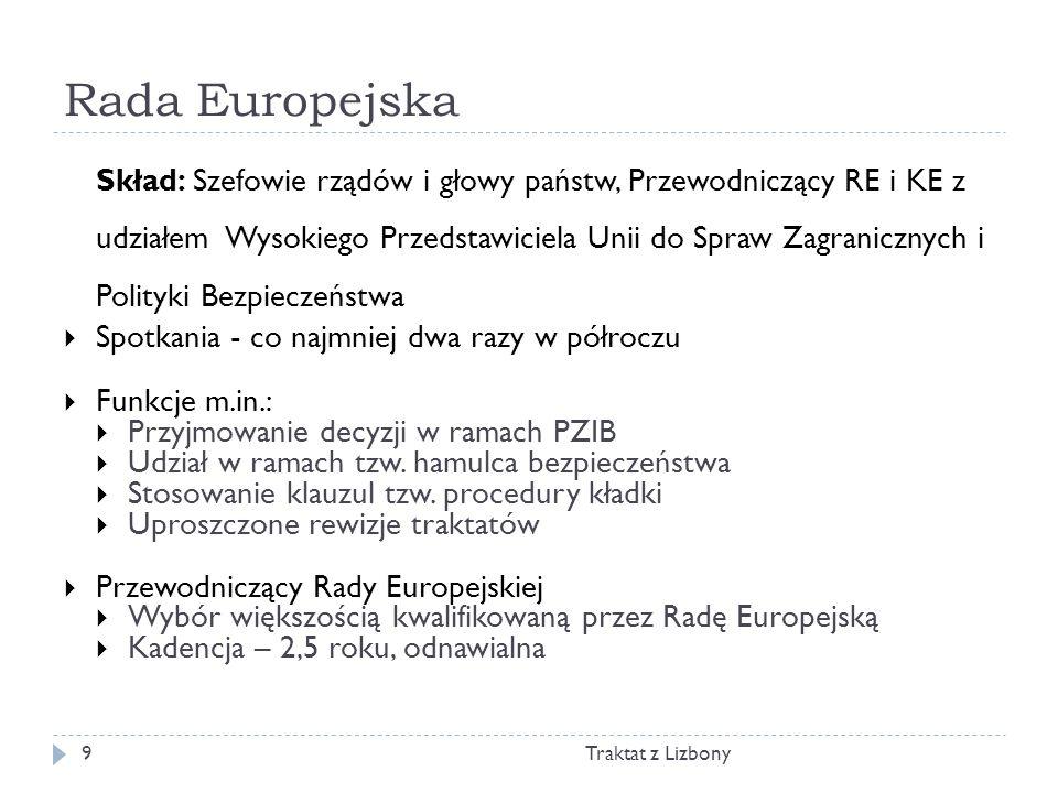 Rada Europejska Traktat z Lizbony9 Skład: Szefowie rządów i głowy państw, Przewodniczący RE i KE z udziałem Wysokiego Przedstawiciela Unii do Spraw Za