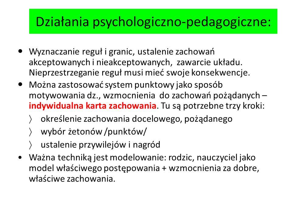 Działania psychologiczno-pedagogiczne: Wyznaczanie reguł i granic, ustalenie zachowań akceptowanych i nieakceptowanych, zawarcie układu. Nieprzestrzeg