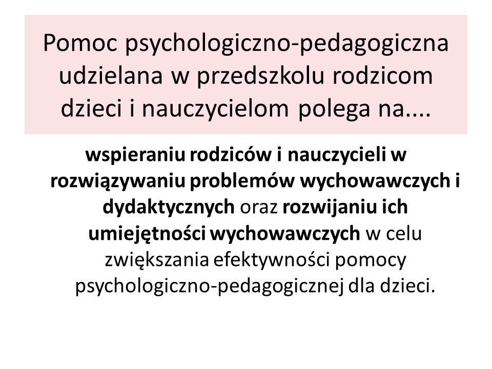 Pomoc psychologiczno-pedagogiczna udzielana w przedszkolu rodzicom dzieci i nauczycielom polega na.... wspieraniu rodziców i nauczycieli w rozwiązywan