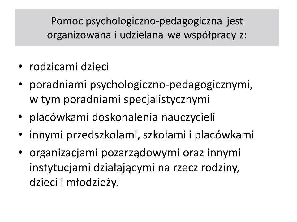Pomoc psychologiczno-pedagogiczna jest organizowana i udzielana we współpracy z: rodzicami dzieci poradniami psychologiczno-pedagogicznymi, w tym pora