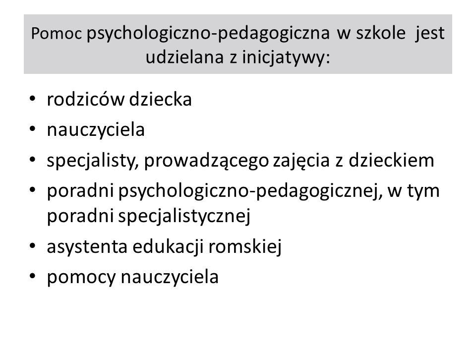 Pomoc psychologiczno-pedagogiczna w szkole jest udzielana z inicjatywy: rodziców dziecka nauczyciela specjalisty, prowadzącego zajęcia z dzieckiem por