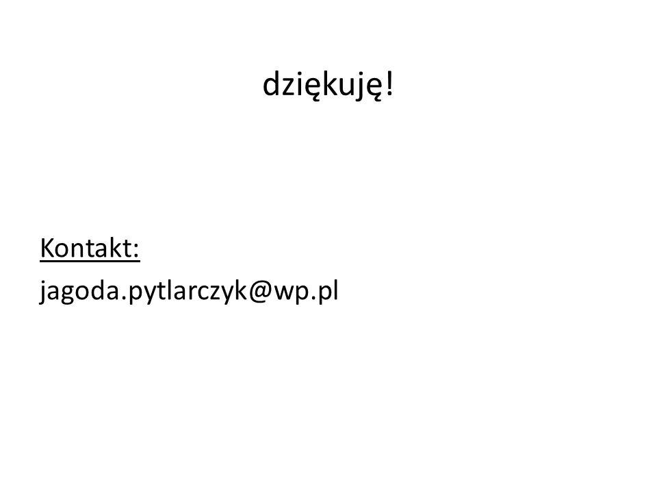 dziękuję! Kontakt: jagoda.pytlarczyk@wp.pl