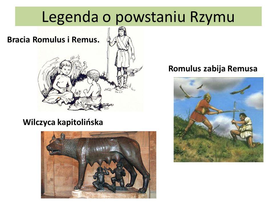Legenda o powstaniu Rzymu Bracia Romulus i Remus. Romulus zabija Remusa Wilczyca kapitolińska