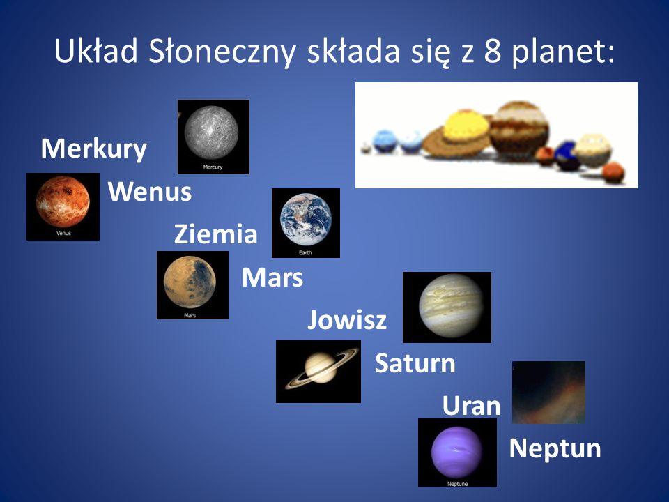 Układ Słoneczny składa się z 8 planet: Merkury Wenus Ziemia Mars Jowisz Saturn Uran Neptun