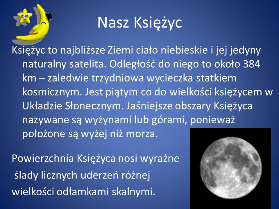 Nasz Księżyc Księżyc to najbliższe Ziemi ciało niebieskie i jej jedyny naturalny satelita. Odległość do niego to około 384 km – zaledwie trzydniowa wy
