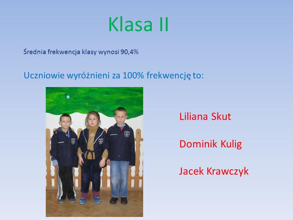 Klasa III Natalia Bielak Adam Wojtas Marian Skut Paweł Pawka Uczniowie wyróżnieni za bardzo dobre wyniki w nauce to: Liczy 17 uczniów