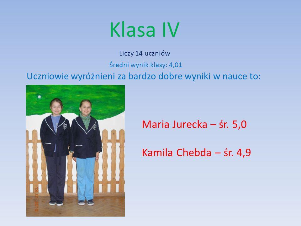 Klasa IV Kinga Drożdż Kamila Chebda Średnia frekwencja klasy wynosi 89% Uczniowie wyróżnieni za 100% frekwencję to: