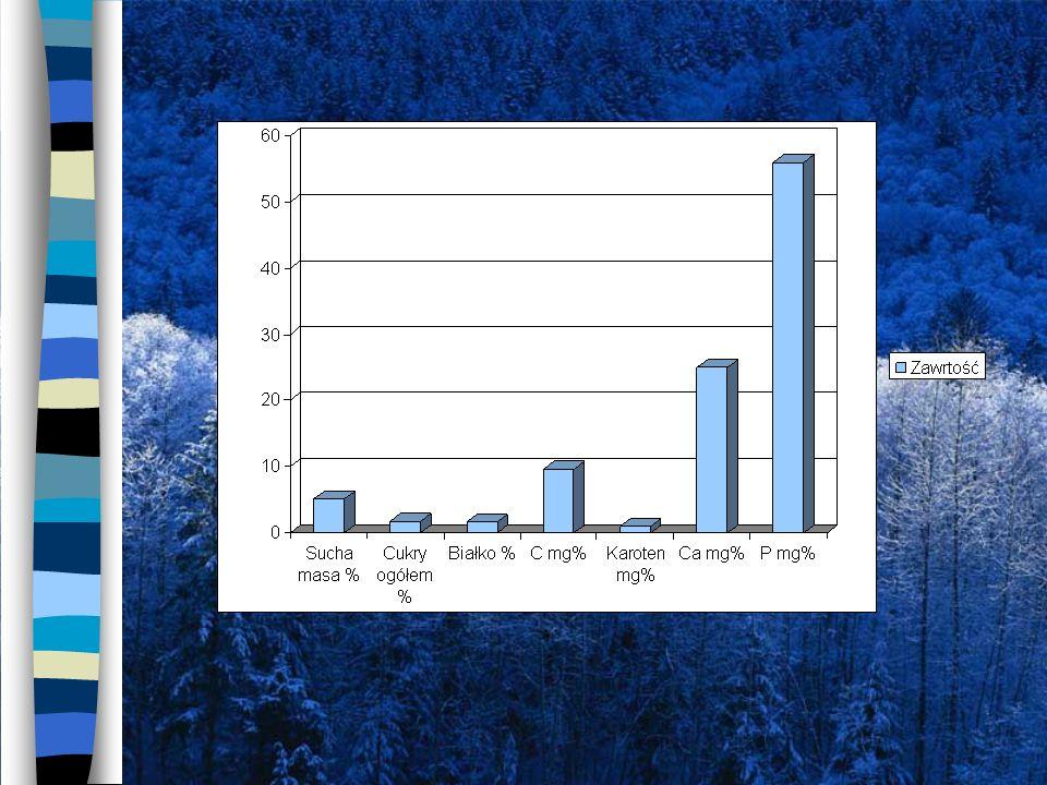 Sałata i fasola szparagowa 10 – 5,1 = 4,9 [%] – sucha masa – więcej w fasoli szparagowej 3,5 – 1,7 = 1,8 [%] – cukry ogółem -więcej w fasoli szparagowej 2,5 – 1,6 = 0,9 [%] – białko - więcej w fasoli szparagowej 14 – 9,6 = 3,4 [%] – węgiel (C) - więcej w fasoli szparagowej 47 – 25 = 22 [%] – wapń (Ca) - więcej w fasoli szparagowej 56 – 23 = 33 [%] – fosfor (P) – więcej w marchwi Sucha masa % Cukry ogółem % Białko %Węgiel mg% Karoten % Wapń mg% Fosfor % 5,11,71,69,612556 Sałata Sucha masa % Cukry ogółem % Białko %Węgiel mg% Karoten % Wapń mg% Fosfor % 103,52,51404723 Fasola szparagowa