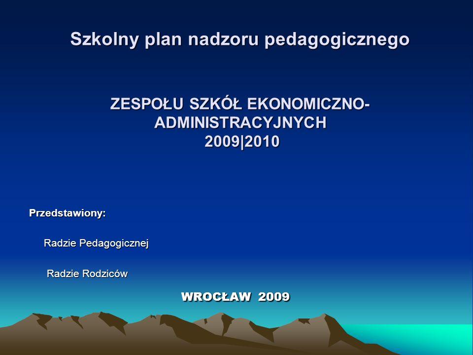 Szkolny plan nadzoru pedagogicznego ZESPOŁU SZKÓŁ EKONOMICZNO- ADMINISTRACYJNYCH 2009|2010 Przedstawiony: Radzie Pedagogicznej Radzie Pedagogicznej Ra