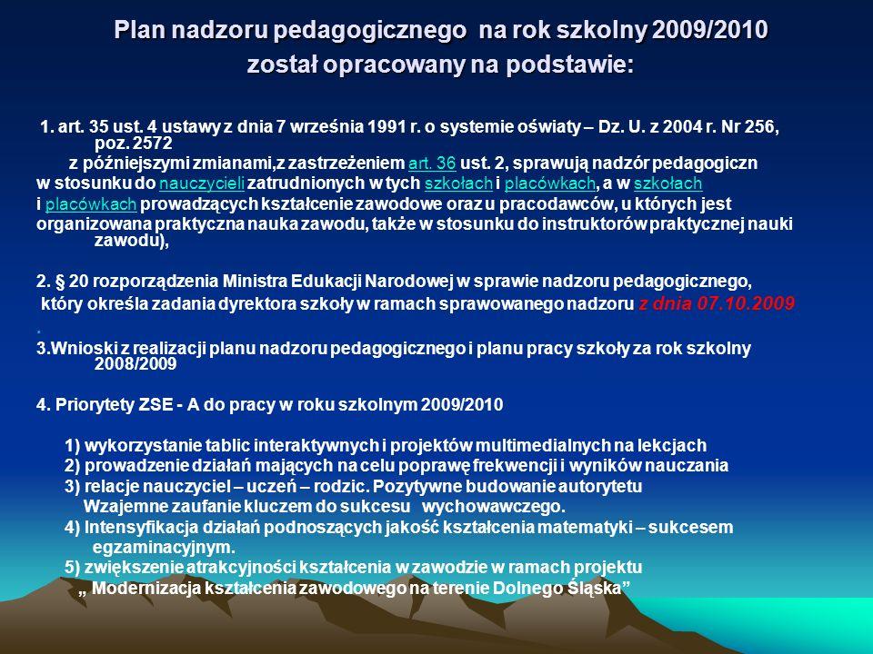 Plan nadzoru pedagogicznego na rok szkolny 2009/2010 został opracowany na podstawie: Plan nadzoru pedagogicznego na rok szkolny 2009/2010 został oprac