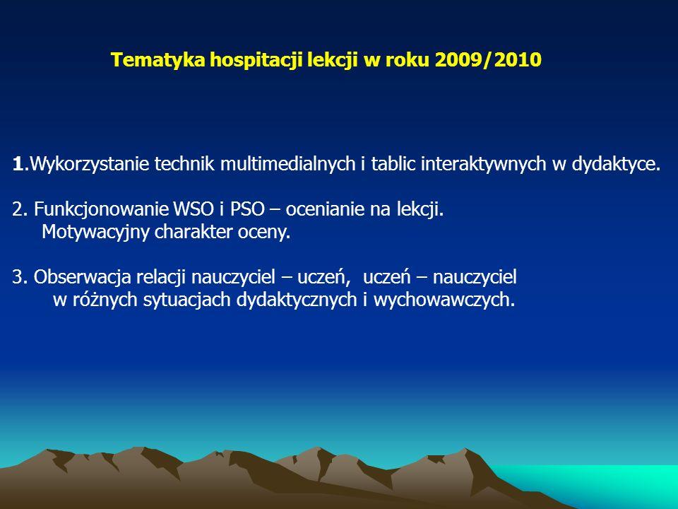 Tematyka hospitacji lekcji w roku 2009/2010 1.Wykorzystanie technik multimedialnych i tablic interaktywnych w dydaktyce. 2. Funkcjonowanie WSO i PSO –