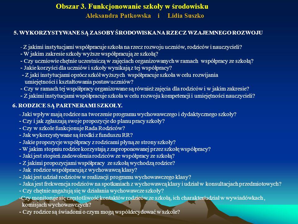 Obszar 3. Funkcjonowanie szkoły w środowisku Aleksandra Patkowska i Lidia Suszko - Z jakimi instytucjami współpracuje szkoła na rzecz rozwoju uczniów,