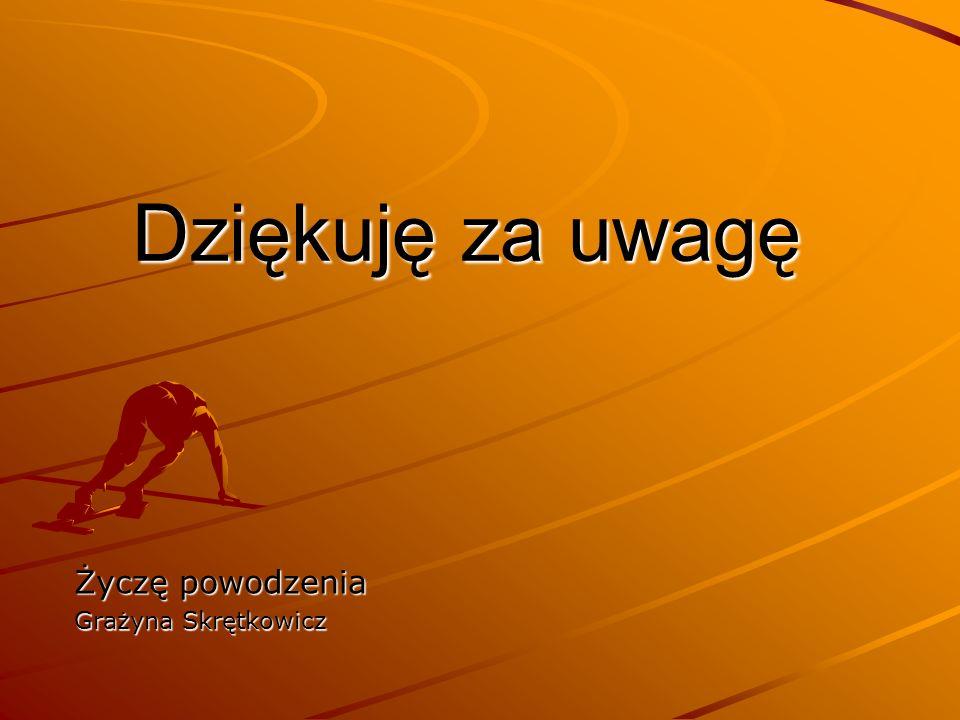 Dziękuję za uwagę Życzę powodzenia Grażyna Skrętkowicz
