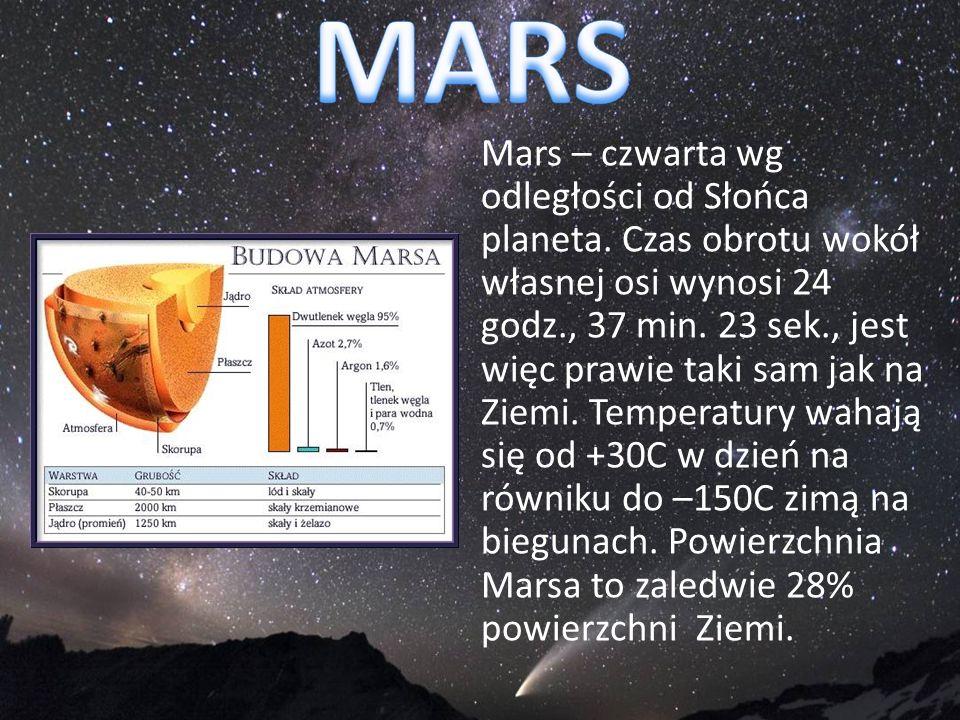 Mars – czwarta wg odległości od Słońca planeta. Czas obrotu wokół własnej osi wynosi 24 godz., 37 min. 23 sek., jest więc prawie taki sam jak na Ziemi