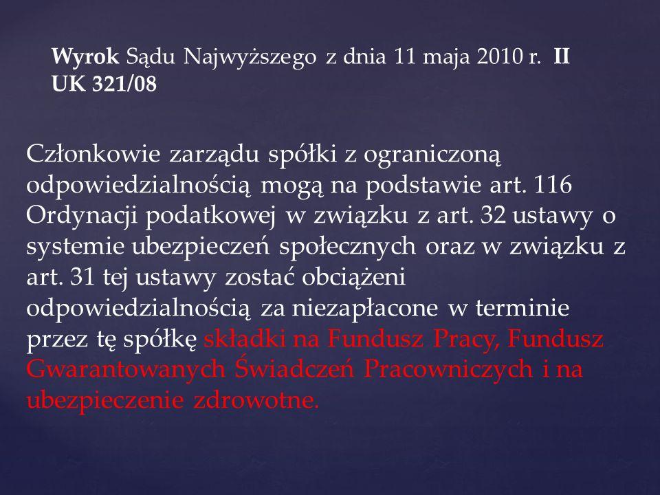 wyrok SN z 2010-02-10 V CSK 234/09 Biuletyn SN 2010/7 Członek zarządu spółki z o.o.