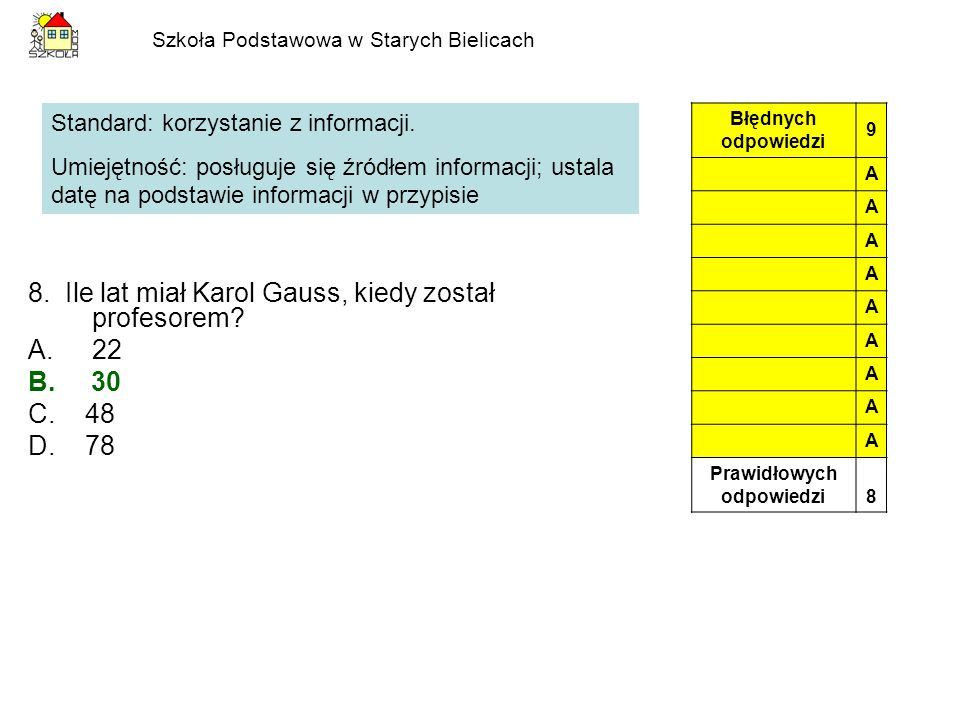 Szkoła Podstawowa w Starych Bielicach 8. Ile lat miał Karol Gauss, kiedy został profesorem? A.22 B. 30 C. 48 D. 78 Standard: korzystanie z informacji.