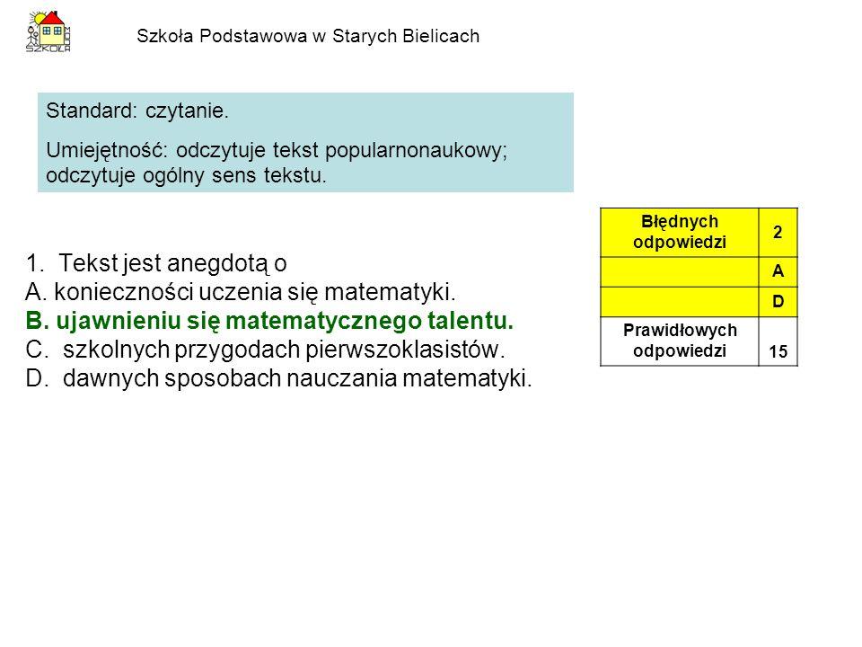 Szkoła Podstawowa w Starych Bielicach Standard: rozumowanie.