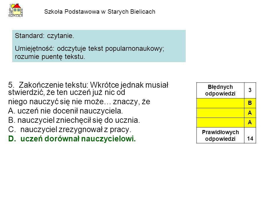 Szkoła Podstawowa w Starych Bielicach 6.Z tekstu wynika, że mały Karol był bardzo: A.bystry.