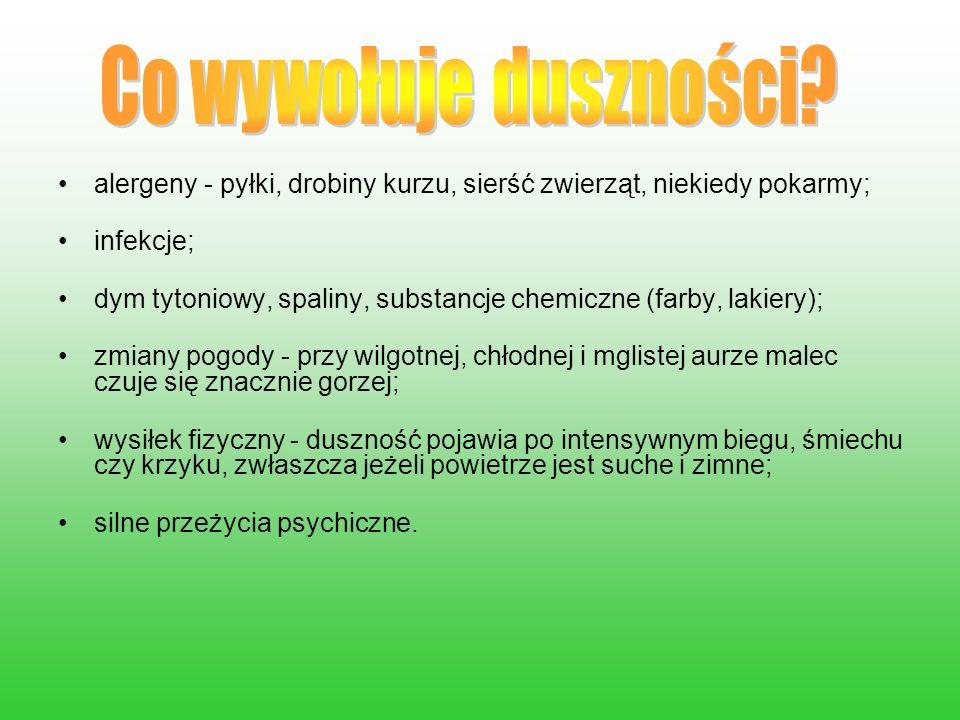 alergeny - pyłki, drobiny kurzu, sierść zwierząt, niekiedy pokarmy; infekcje; dym tytoniowy, spaliny, substancje chemiczne (farby, lakiery); zmiany po