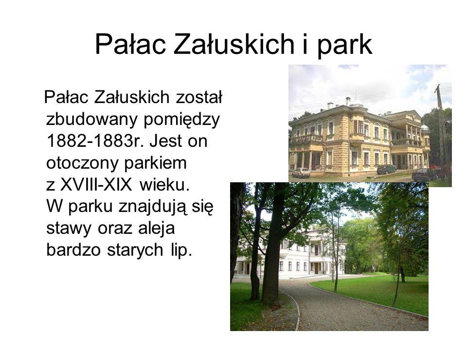 Pałac Załuskich i park Pałac Załuskich został zbudowany pomiędzy 1882-1883r. Jest on otoczony parkiem z XVIII-XIX wieku. W parku znajdują się stawy or